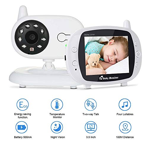 """Video Baby Monitor, Digital Camera with 3.5"""" Large LCD Screen, Night Vision, Temperature Display, Two Way Communication, Built-in Lullabies"""
