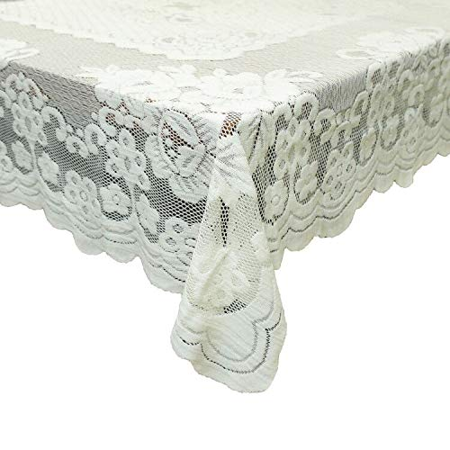 GEFEII White Lace Tablecloth Rectangular for Rectangle Table Crochet Lace Tablecloths Oblong Table Covers 60X104 for Kitchen Wedding Party Decoration