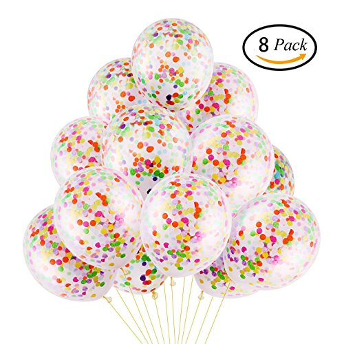 DECORA 8 Pieces Colorful Confetti Balloon 12 inch for Wedding, Easter and Birthday Party (Colorful Balloons)