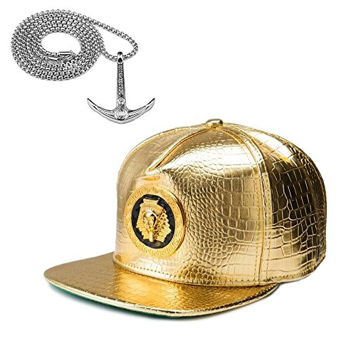 Crocodile Flat Brim Baseball Cap and Silver Chain Necklace, Hip-Hop Snapback Hat with Religious Element Metal Sign (Pharaoh-Gold)