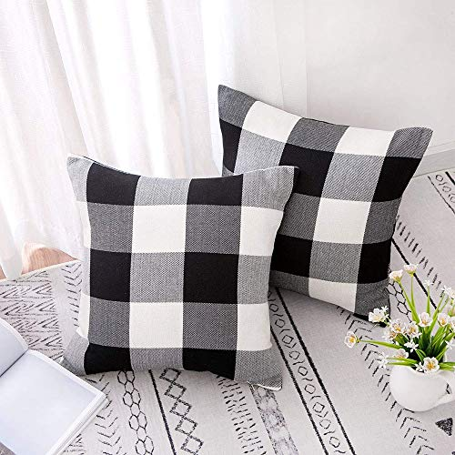LATTCURE Throw Pillow Covers 18x18 Inch, Christmas Decorations, Plaids Cotton Linen, Throw Cushion Case, Cotton Canvas for Sofa Bedroom Car, (Black & White)
