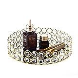 Feyarl Crystal Beads Cosmetic Round Tray Jewelry Organizer Tray Mirror Finished Decorative Tray (Gold)