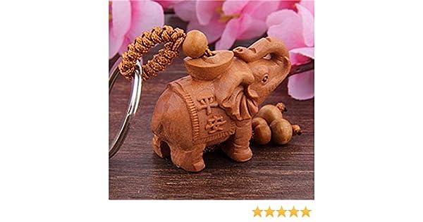 QWhing Titular Clave Llavero de Elefante de lingote de Caoba Colgante de Madera de Carro Azufaifo Elefante de Madera Keyring_Brown Llavero del Coche