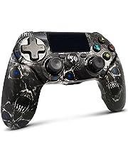 Lioeo Controller Draadloze voor PS4, Controller Bluetooth Dubbele Shock Joystick met Audio Functie, LED Indicator High Performance Gamepad voor Playstation 4/Pro/Slim/PC (Skull Black)