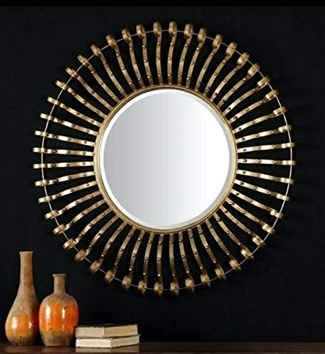 Buy Ashlo S 36 Inches Gold Metal Wall Decor Mirror Metal Wall Art Decorative For Living Room Drawing Room Online At Low Prices In India Amazon In
