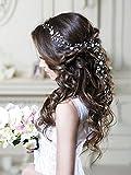 Unicra Wedding Silver Crystal Flower Headpiece Bridal Hair Vine Headbands Wedding Hair Accessories for Brides and Bridesmaids