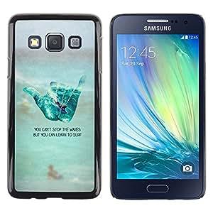 Cool Hand Sign Surf Amigo Beach texto - Metal de aluminio y de plástico duro Caja del teléfono - Negro - Samsung Galaxy A3