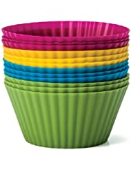 Baking Essentials Silicone Baking Cups, Set of 12 Reusable Cupcake Liners in Four Colors - USE for Muffin, Gelatin, Snacks, Frozen Treats, Ice Cream or Chocolate Shell-lined Dessert Molds, Non-stick (1) by Zaza Kitchen