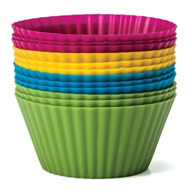 Baking Essentials Silicone Baking Cups, Set of 12 Reusable Cupcake Liners in Four Colors - USE for Muffin, Gelatin, Snacks, Frozen Treats, Ice Cream or Chocolate Shell-lined Dessert Molds, Non-stick (1)