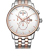 BUREI Men's Chronograph Wirst Watches Stainless Steel Multifunction Analog Quartz with Rose Gold Hand