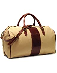 Floto Luggage Venezia Duffle In Canvas and Leather, Tan, Medium