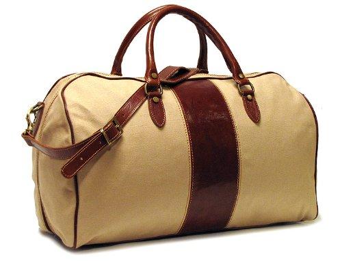 a Duffle In Canvas and Leather, Tan, Medium (Venezia Canvas Duffle Bag)
