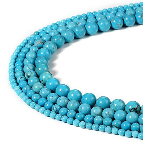 8mm Blue Turquoise Beads Round Loose Gemstone Beads for Jewelry Making Strand 15 Inch (47-50pcs)