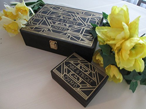 Wedding Guest Book and Ring Box Alternatives Engraved Art Deco Gatsby Style Roaring Twenties Personalized Set for 150 guests - Item 1690 for $<!--$179.00-->