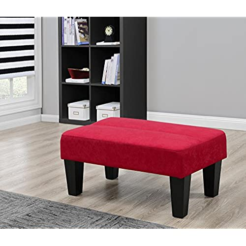 Modern Minimalist Sturdy Kebo Ottoman, Upholstered In Rich Microfiber,  Perfect Footrest, Coffee Table Or Extra Seating (Red)