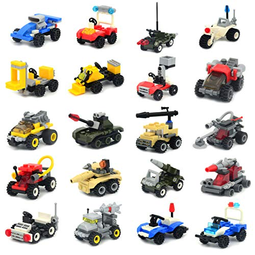 Mini Buildable Vehicles Set of 20,Building Block Car Toy for Party Supplies,Birthday Favors,Goodie Bags