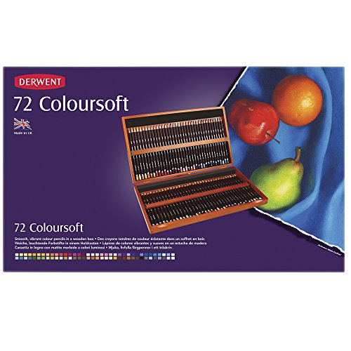 Derwent Colored Pencils, ColourSoft Pencils, Drawing, Art, Wooden Box, 72 Count (72 Wooden Box)