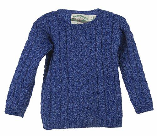 100% Irish Merino Wool Little Boy's Crew Neck Aran Sweater 2-3 (Shirt Womens 2 Wool Crew)