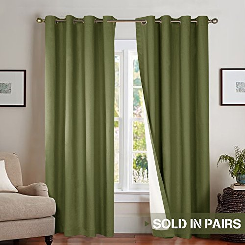 Moderate Blackout Curtains for Bedroom 84 inches Long Lined Energy Efficient Living Room Window Curtain Panels Thermal Insulated, Grommet Top, 1 Pair, Olive ()