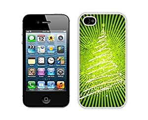 Case For Iphone 5/5S Cover,Christmas Bright Green Stars Christmas Tree Durability Case For Iphone 5/5S Cover Silicone White Case