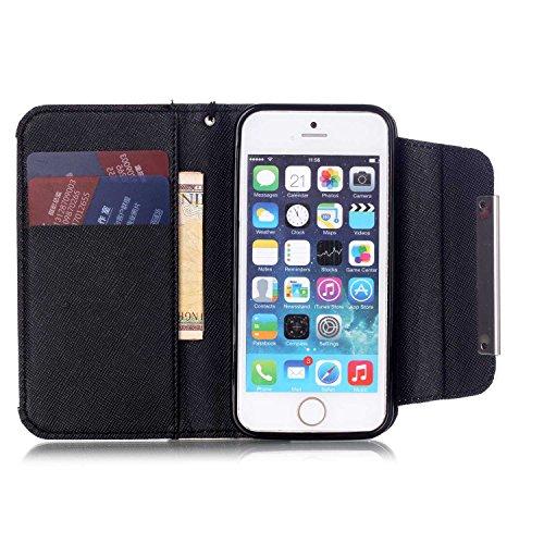 MOONCASE iPhone 5 Case PU Leder Wallet Tasche Flip Etui Case Cover 2 in 1 abnehmbarer weicher TPU Innen Schale für iPhone 5 5S -FT06