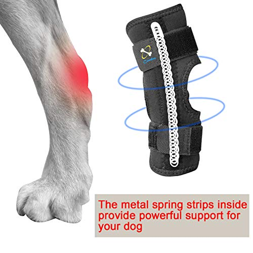 Powerful Dog Canine Rear Leg Hock Joint Brace with Metal Spring Strips, Strengthen Support Dog Back...