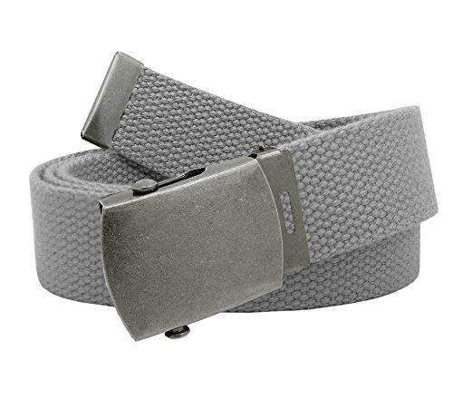 Boy's School Uniform Antique Silver Slider Military Belt Buckle with Canvas Web Belt Medium Gray (Grey Military Uniforms)