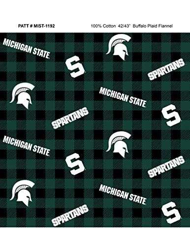 Michigan State University Flannel Fabric with Awesome Check Design-Sold by The Yard-College Flannel Fabric