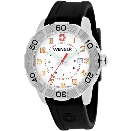 Wenger Roadster Men's Quartz Watch with White Dial Analogue Display and Black Silicone Strap 010851104