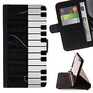 BullDog Case - FOR/Samsung Galaxy S4 Mini i9190 / - / Piano Pattern /- Monedero de cuero de la PU Llevar cubierta de la caja con el ID Credit Card Slots Flip funda de cuer
