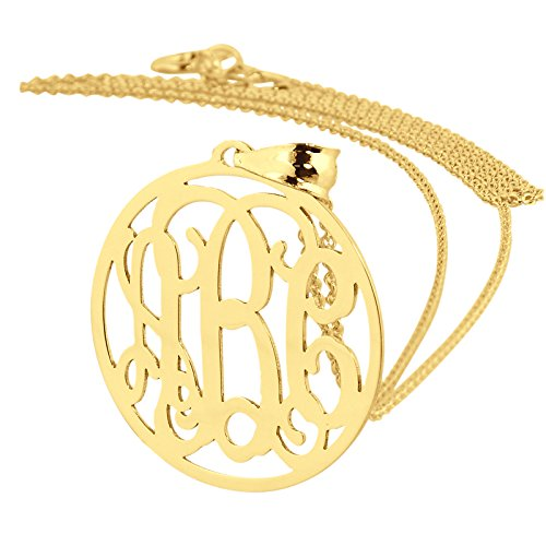 Small 3/4 Inch Circle Monogram Pendant Solid 10k Yellow Gold Personalized 3 Initials Laser Cut Jewelry. (16)