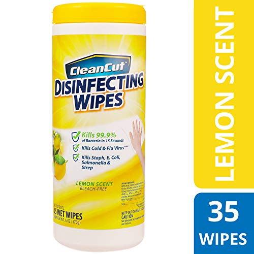 Clean Cut Disinfecting Wipes, Lemon Scent, 35 Wet Wipes, Kills 99.9% of Bacteria, Multi-Surface Cleaning Wipes, Great for Kitchens, Bathrooms, Offices, and Classrooms