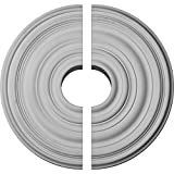 Ekena Millwork CM18CA2-05000 17 3/4''OD x 1 3/8''P Carton Ceiling Medallion, Fits Canopies up to 5'', 2 Piece