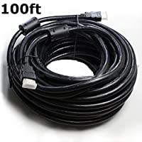 CableVantage HDMI 1.4V Cable(100 Feet) Support 3D,1080P,Ethernet,Audio Return For HDTV PC TV Computer PS4 Xbox Monitiors Black