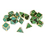 SunniMix 14Pcs Multisided Alloy Dice Set D4-D20 Board Game for Craps Gambling Lovers
