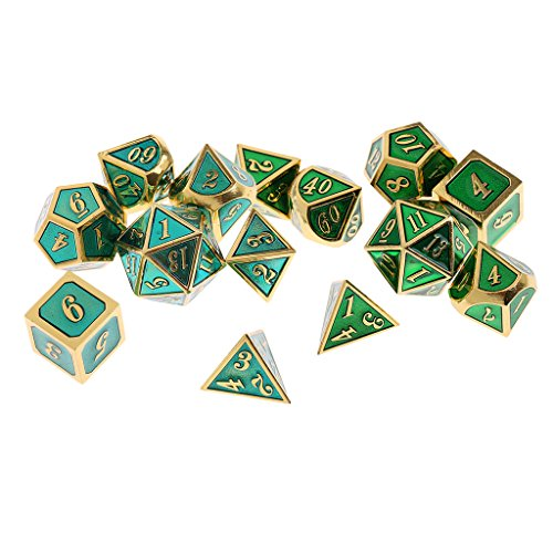 SunniMix 14Pcs Multisided Alloy Dice Set D4-D20 Board Game for Craps Gambling Lovers by SunniMix