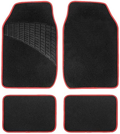 FH Group – F14503-RED F14503 RED Color-Trimmed Liners Non-Slip Car Floor Mats with Rubber Heel Pad – Full Set