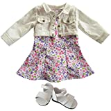American Girl Doll Clothing - Pink Floral Knee-Length Dress Outfits, White Cropped Top Jacket & Sandals Fit 18 inch Doll Clothes