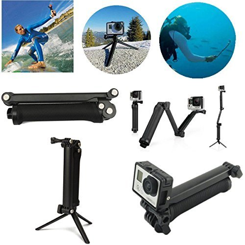 WALLER PAA 3 Way Hand Grip Flexible Tripod Extension Arm Monopod For Go Pro Selfie (Big Stick Professional Wood Bat)