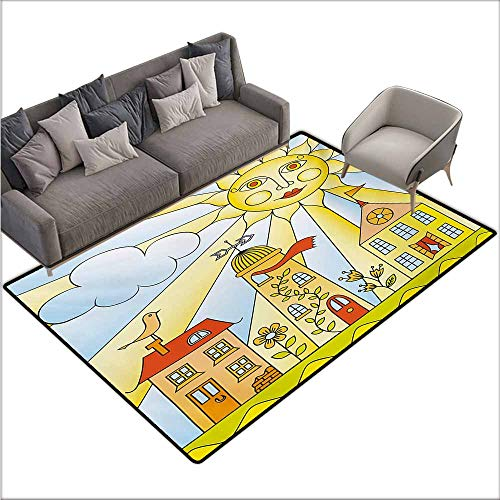 Bath Rug Kids Room Childlike Drawing of City Under Smiling Sun Cartoon Houses Garden Cloud Nursery Easy to Clean Carpet W70 xL110 Multicolor