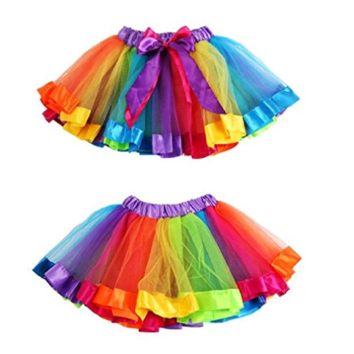 GBSELL Toddler Kids Baby Girls Rainbow Bowknot Skirt Tutu Dress Dancewear (Multicolor, S)