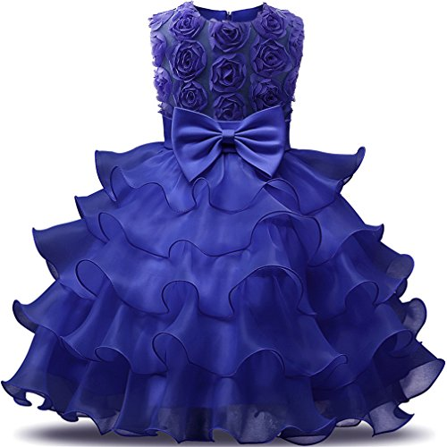 Niyage Girls Party Dress Princess Flowers Ruffles Lace Wedding Dresses Toddler Baby Pageant Tulle Tutus 12-18 M Dark Blue
