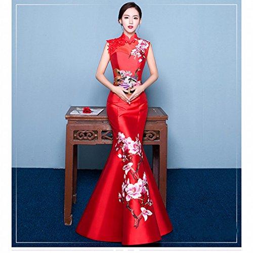 Pez Cheongsam Fiesta Chinese Bordado metro un Rojo Retro Delgado Hombro Cola Vestido Dhg Banquete Novia De Degustación La Noche Bf5wvv