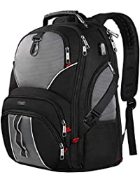 TSA Laptop Backpack, 50L Anti Theft Durable Carry on Backpack with USB Charging Port, Water Resistant College School Travel Backpacks for Women & Men Fits 17 Inch Laptop and Notebook,Black