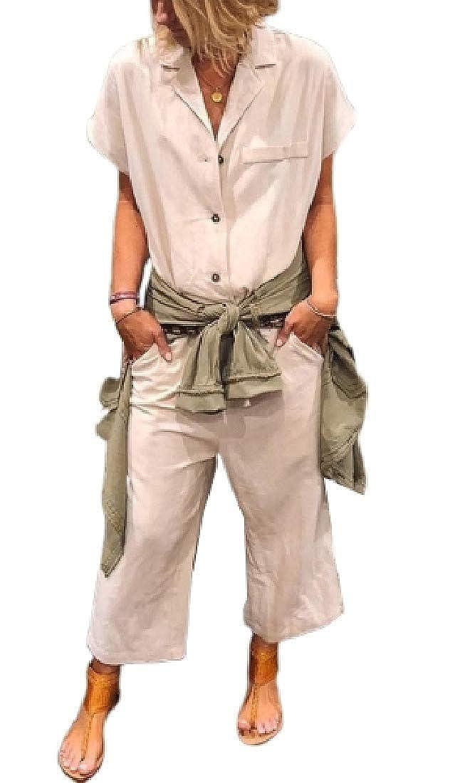 YYG Women Wide Leg Casual Pockets Buttons Short Sleeve Long Rompers