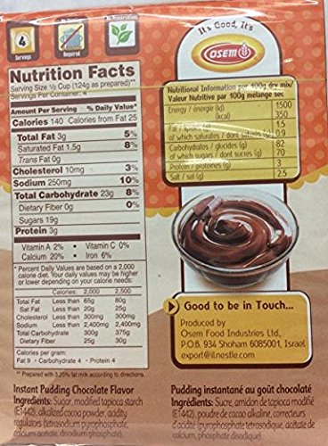 Osem Instant Pudding Chocolate Flavor 3.3 Oz. Pack Of 3.