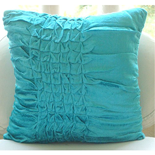 The HomeCentric Decorative Turquoise Blue European Sham Covers 26×26 inch, Velvet Euro Shams, Solid Color, Knots, Textured, Modern European Pillow Shams – Turquoise Knots