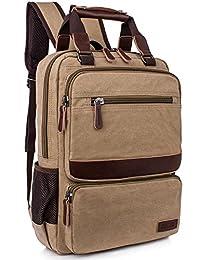 Leaper Retro Vintage Canvas Backpack Computer Bag College School Travel Bag Casual Daypack Rucksack Khaki