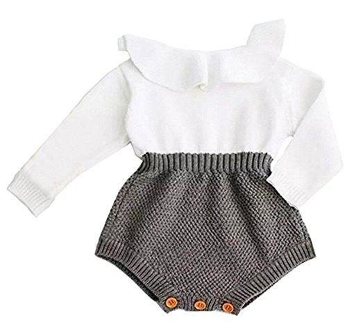 Eiffel Direct Baby Girls Sweet Knitted Fleece Romper Long Sleeve Ruffles Jumpsuits Sweaters Dress (80/6-12 Months, Grey)