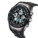 Watch Mens Outdoor Military Sports Digital Large Face Watch, Waterproof Multifunction With Calendar Chronograph Window Watch For Men